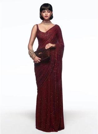 Shop Gorgeous Maroon Georgette Base Sequin Work Party Wear Saree