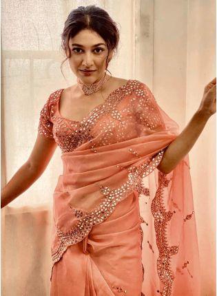 Shop Gorgeous Peach Organza Base Mirror And Resham Work Saree