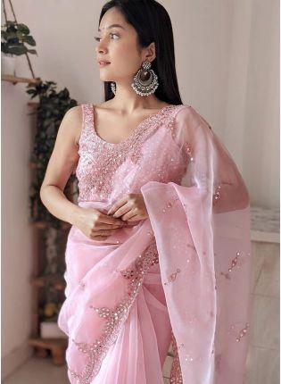 Gorgeous Baby Pink Color Organza Mirror And Resham Work Saree