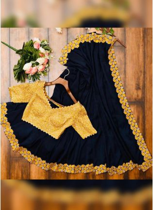 Elegant Black Georgette Saree With Resham And Sequins Details