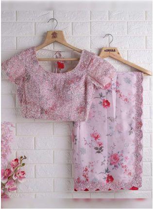 Charming Pink Color Sequins Base Georgette Saree