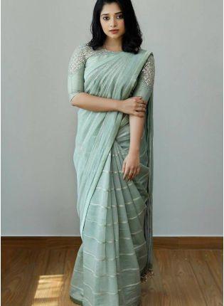 Sea Green  Bollywood Saree With Matching Blouse