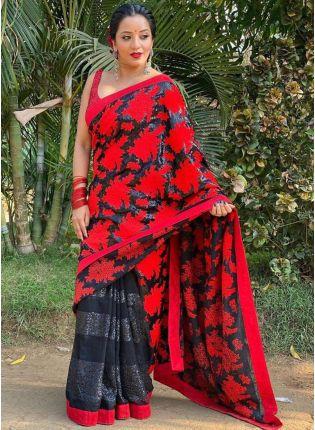 Beautiful Designer Red and Black Color Georgette Base Sequins Base Saree