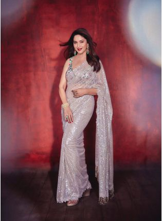 Glamorous Beige Color All Over Sequins Base Bollywood Saree