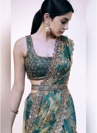 Commendable Turquoise Color Organza Base With Sequins Work Embroidered Designer Saree
