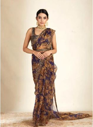 Glamorous Blue Color Organza Base Saree With Blouse Piece