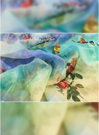 Stylish Tremendous Multi-Color Digital Pint Organza Designer Saree