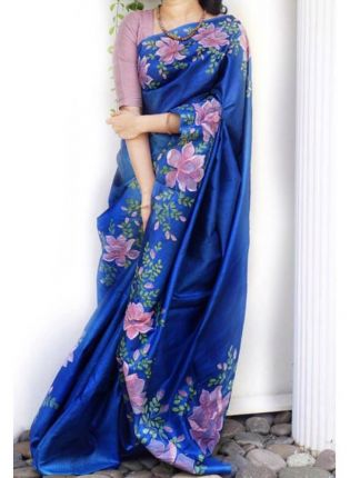 Splendid Adorable Royal Blue Digital Print Casual Wear Organza Saree