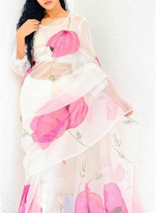 Decent Dazzling Snow White Casual Wear Organza Digital Print Saree