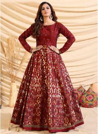 Decent Maroon Color Taffeta Silk Base Foil Print Base Partywear Gown