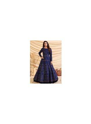 Gorgeous Navy Blue Color Taffeta Silk Base Foil Print Partywear Gown