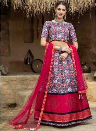 Eye-Captivating Grey And Pink Color Art Silk Base Printed Lehenga Choli