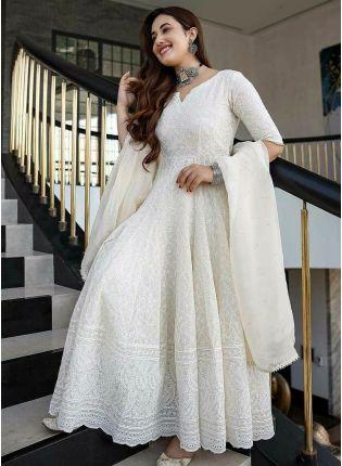 Striking White Color Anarkali Suit
