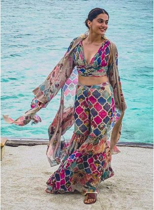 Unique Multi-Colour Printed Georgette Sharara Suit
