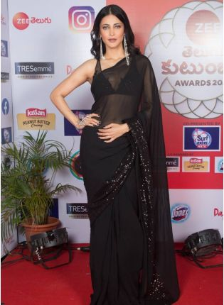 girl in Obsidian Black Embroidered Saree