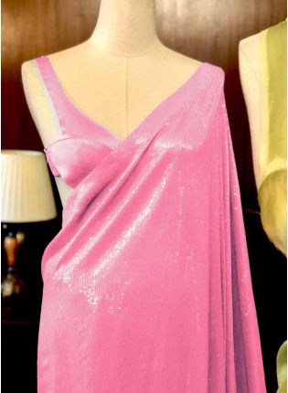 Party Wear Pink Color Georgette and Sequins Base Saree
