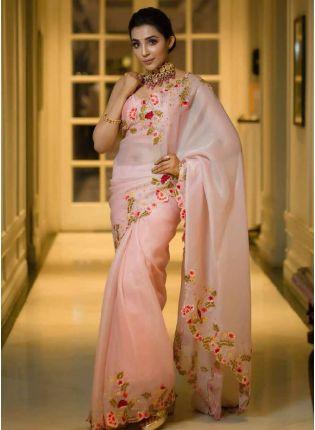 Beautiful Peach Color Silk Base Embroidered Saree