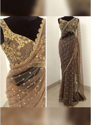 Buy Light Brown Color Soft Net Base Wedding Wear Saree