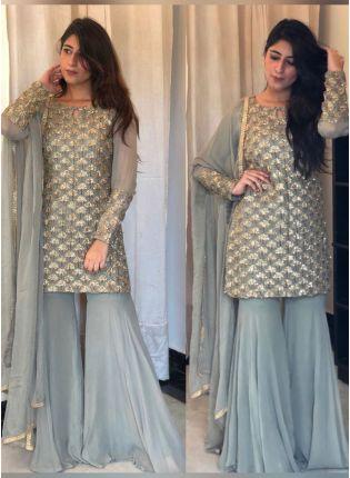 Splendid Splendid Cloudy Grey Georgette Festive Wear Designer Sharara Suit