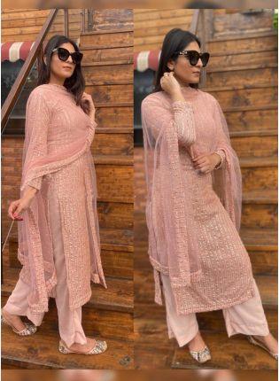 Shop Remarkable Peach Pink Georgette Base Palazzo Salwar Suit
