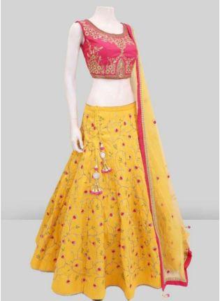 Affordable Lemon Yellow Color Satin Base Embroidery Work Wedding Wear Lehenga Choli