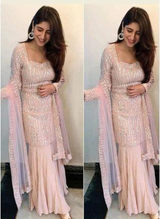 Stylish Peach Pink Georgette Festive Wear Designer Sharara Suit
