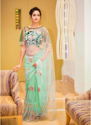 Shop Light Green Color Party Wear Ruffle Border With Sequins Work Saree