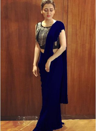 Purchase Fascinating Royal Blue Colored Georgette Base Party Wear Ruffle Saree