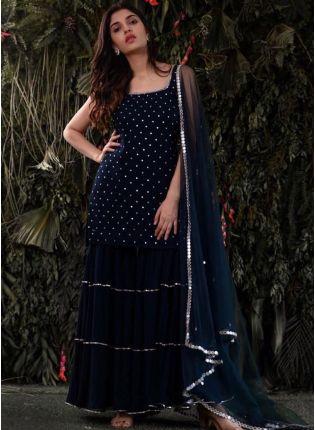 Gorgeous Navy Blue Georgette Sharara Salwar Suit