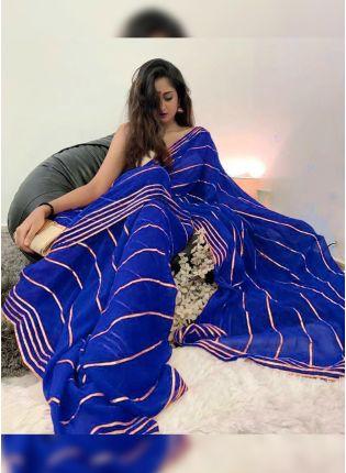 Purchase Sensational Georgette Base Designer Saree With Gota Patti Work