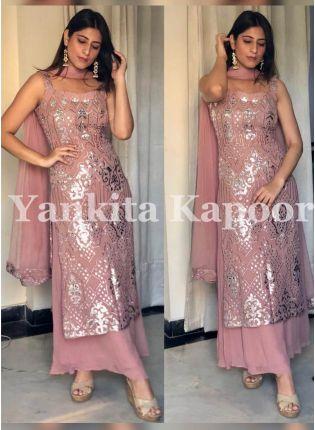Splendid Impressive Blush Pink Georgette Festive Wear Palazzo Salwar Suit