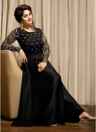 Best Admirable Black Taffeta Silk Party Wear Embroidered Designer Gown
