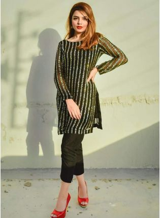 Splendid Adorable And Stylish Black Georgette Pant Style Suit With Sequin Work