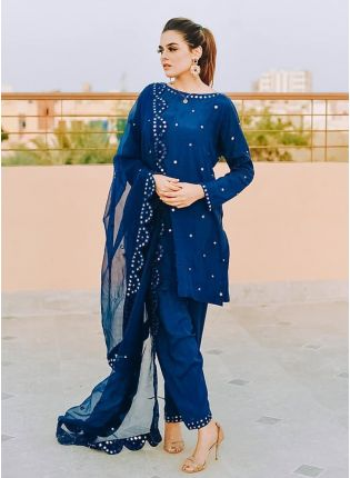 Shop Mesmerizing Royal Blue Georgette Festive Wear Designer Pant Style Suit