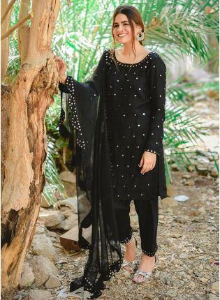 Affordable Magnificent Black Georgette Festive Wear Zari Work Pant Style Suit