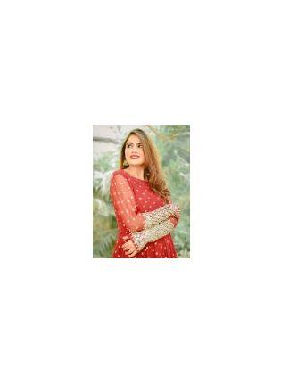 Stylish Spectacular Crimson Red Georgette Festive Wear Designer Stylish Gown
