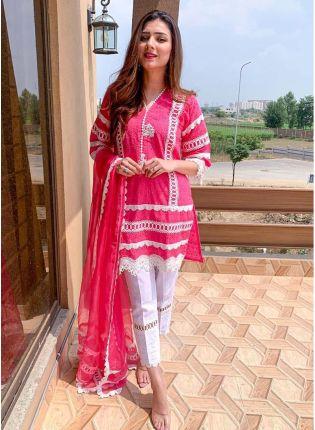Spectacular Hot Pink Cotton Designer Ethnic Pant Style Salwar Suit
