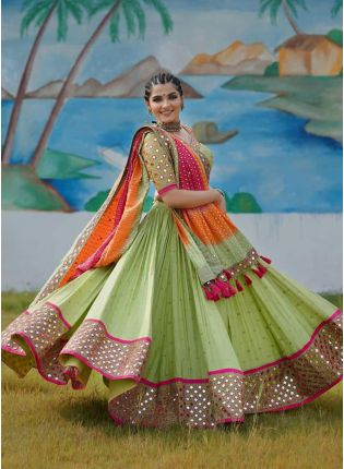 Girl in green Digital Print flared lehenga choli