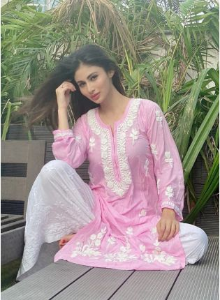 Pink Resham Georgette Palazzo Casual Salwar Suit