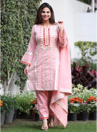 Shop Stunning Baby pink Silk Base Gota Work Pant Style Suit