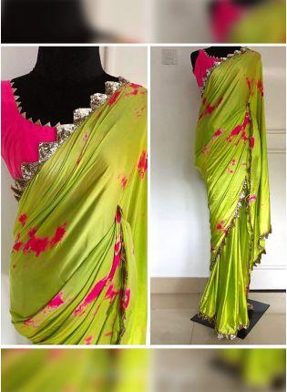 display of Green Digital Print Sequin Festive Trending Saree