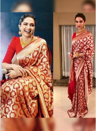 girl in Crimson Banarasi Silk Saree for Festivals