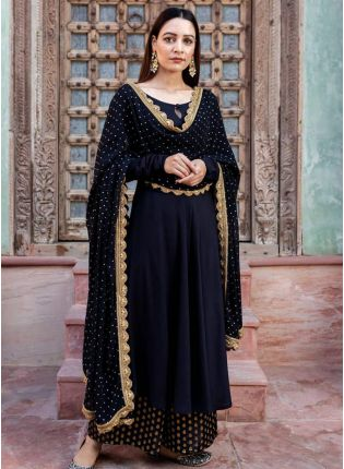 girl in Onyx Black Rayon with Stone Work Palazzo Suit