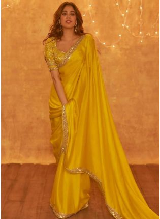 girl in Hot Yellow Embroidered Saree
