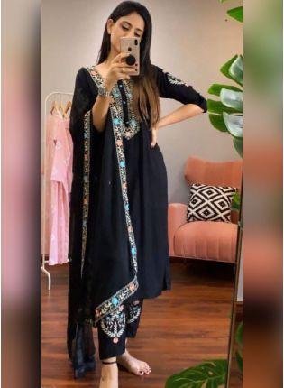 Black Color Heavy Rayon Base Pant Style Salwar Suit With Dupatta Set