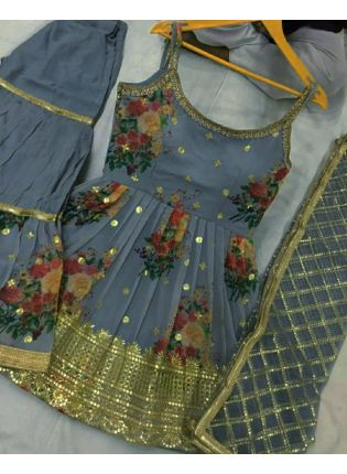 buy Enchanting Georgette Fabric Grey Color Zari And Sequins Work Sharara Salwar Suit