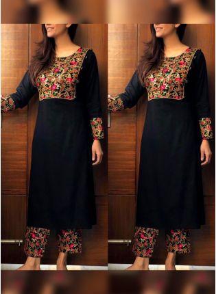 Trendy Black Color Rayon Base Salwar Kameez