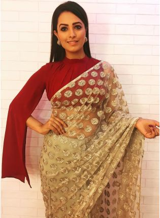 Trendy Remarkable Beige Color Soft Net Base Saree for all Occasion
