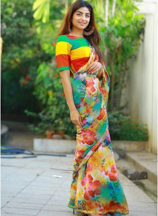 Buy Mind-Blowing Multi Color Designer Printed Saree for Regular Wear