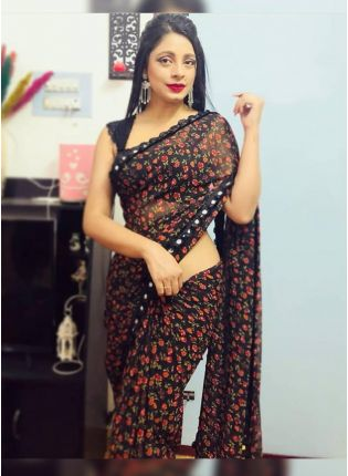 Iconic Breathtaking Coal Black Floral Print With Heavy Mirror Lace Saree